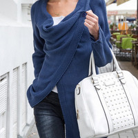 Indigo Blue Oblique Button Knit Cardigan