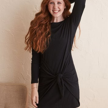 Aerie Knot Long Sleeve Dress, True Black