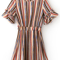 Khaki Elastic Waist Bell Sleeve Stripe Dress