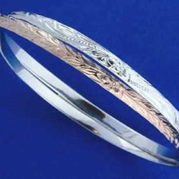 ROSE GOLD PLATED SILVER HAWAIIAN 2 in 1 PLUMERIA SCROLL MAILE BANGLE BRACELET