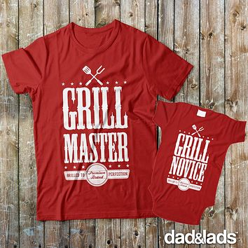 Grill Master and Grill Novice Dad and Baby Matching Shirts for Cookout