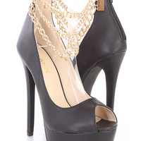 Black Chain Draped Platform High Heels Faux Leather