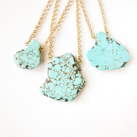 Turquoise Nugget Chain Necklace