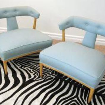 50s Mid Century MODERN Pair AQUA Slipper CHAIRS By by fabulousmess