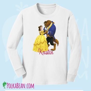 Disney's Belle and Beast personalized long sleeve T shirts