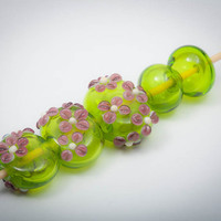 Hollow Lampwork Bead Set in Lime Green and Lavender