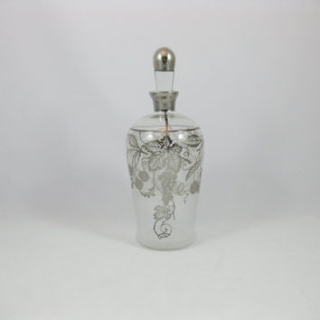 Silver Overlay Glass Wine Decanter