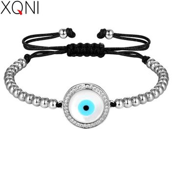XQNI 4mm Beads Big Round Evil Eye with Micro Pave Cubic Zircon Gold/Black/Rose Gold/Silver Color Women Bracelet Gift Rope Chain