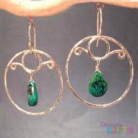 "Hammered circles with green turquoise, 2"" Earring Gold Or Silver"