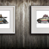 Pair of Beetle deco illustrations (Two Prints)