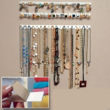 Adhesive Jewelry Earring Necklace Hanger Holder Organizer Packaging Display Jewelry Rack Sticky Hooks Wall Mount