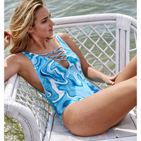 Blue Printed Cross Strap V-Neck Monokini