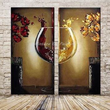 Mintura Art 2Pcs/Set Hand Painted Abstract Red Wine Glass Oil Painting on Canvas Modern Wall Picture For Living Room Wall Decor