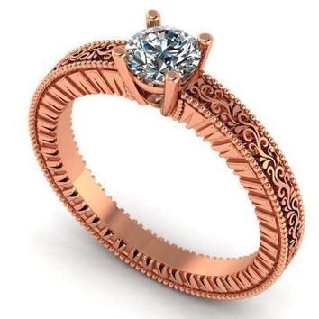 Black Friday Diamond Solitaire Ring Unique Engagement ring Milgrain Filigree Ring 18K Rose Gold Engagement gift Christmas Gift
