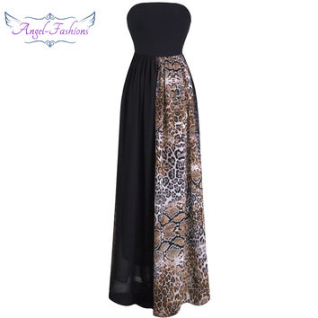 Angel-fashions Strapless Pleat A-line Leopard Chiffon Long Evening Dresses  vestidos de noche Black 157