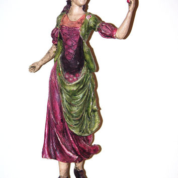Vintage Lady w Basket of Apples Statuette made of Plaster