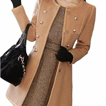 Jaycargogo Women Faux Fur Collar Winter Thick Long Sleeve Overcoat Peacoat