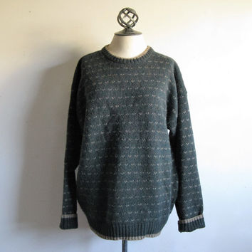 Vintage 1980s WOOLRICH Jumper Dark Green Wool Blend Crewneck Mens Sweater Large