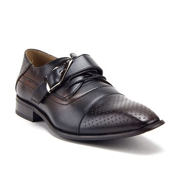 Men's 08822 Cap Toe Monk Strap Lace Up Oxfords Dress Shoes