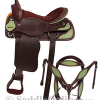 Ready To Ride Western Pleasure Green Ostrich Saddle 16- Western Horse Saddles - Saddle Online