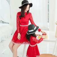 2016 spring High quality lace pink red color dress for mother and daughter fashion kids clothes