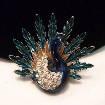 Art Bejeweled Peacock Brooch Blue Enamel Feathers Glass Rhinestone Signed Bird Vintage Pin