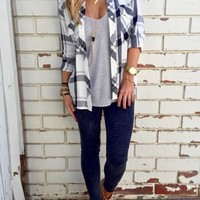 Casual Loose Fit Plaid Button down Shirt - OASAP.com