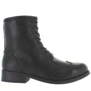 Wanted Rickey   Black Perforated Wing Tip Lace Up Boot