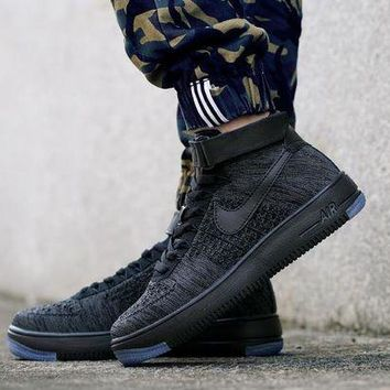 ESBBE6 Nike Air Force 1 Flyknit Mid-High 817420-010 Black For Women Men Running Sport Casual Shoes Sneakers