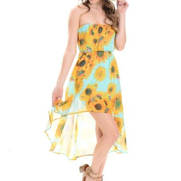 Yellow/Blue Floral Compass Off-the-Shoulder Dress | $10 | Cheap Trendy Club and Party Dresses Chic D