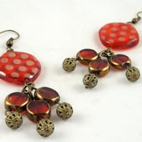 Red and Gold Glass Chandelier Earrings by theotherstacey on Etsy