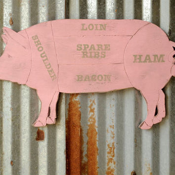 Pig Sign Butcher Shop Pork Meat Chart Butcher Diagram Meat Cuts Kitchen Wall Art