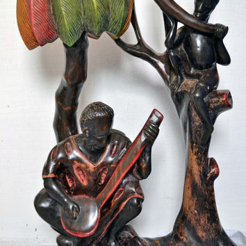 Art, African Art, Handmade, Carved, Wood, Musicians, Family, Tribal, Afrocentric, African American, African Musicians, Music