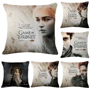 """Game of Thrones Characters John Snow Throw Pillow Cover Decorative Massager Pillows Linen Zip DIY Home Decor Gift""""18X18''"""