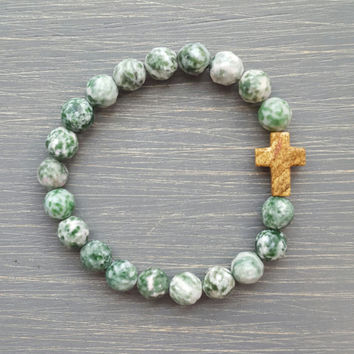 Tree Agate Gemstone Beaded Cross Bracelet