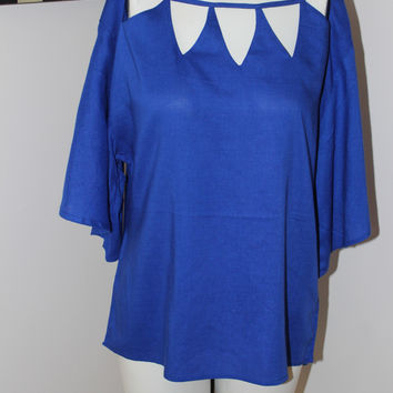Harve Benard Cobalt Blue Blouse With Cut Outs At Neck, New With Tag