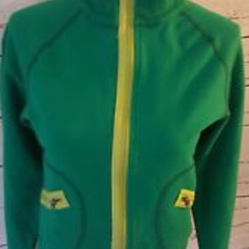LULULEMON track Jacket Sz 6 Cropped Zip Up RARE Running Top Shirt Coat EUC GREEN