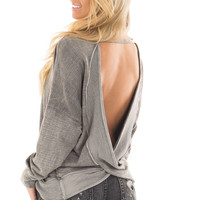 Faded Charcoal Top with Open Back Detail