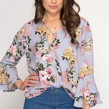 3/4 Double Bell Sleeve Floral Surplice Top - Misty Blue