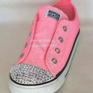 ICIKGQ8 converse all star chuck taylors in vintage neon pink with swarovski crystal detail