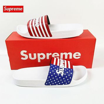 Supreme Slides Sandals Slippers White Red USA Flag