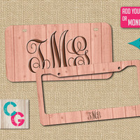 Pink License Plate Frame, Pink LIcense Plate, Custom License Plate, Monogram License Plate Frame, Rustic Gift, Pink License Plate