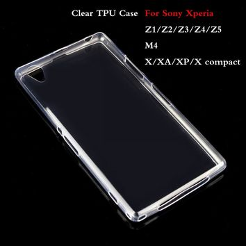 New Crystal Cover For Sony Xperia X XA XP X compact Z1 Z2 Z3 Z4 Z5 M5 Aqua Soft Clear Cover 0.6mm Super Thin  TPU Silicon Case