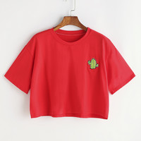 Cactus Embroidery Crop Tshirt