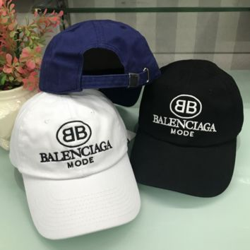 Balenciaga New fashion sunshade hat letter embroidery couple baseball cap three color