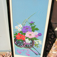Chinese Asian Silk Embroidery Flower Cart Framed Wall Art Hanging Hand Embroidered Signed ALW