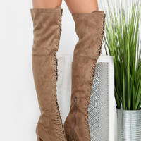Thigh High Front Lace Up Boots TAUPE | MakeMeChic.COM