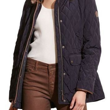 Lauren Ralph Lauren Faux Leather Trim Quilted Jacket | Nordstrom