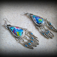 Bohemian tribal silver earring-multi colour embroidery earring-tribal dangle earring-gypsy earring-feather earring-ethnic earring