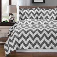 Chevron Gray Duvet Cover 100% Egyptian Cotton